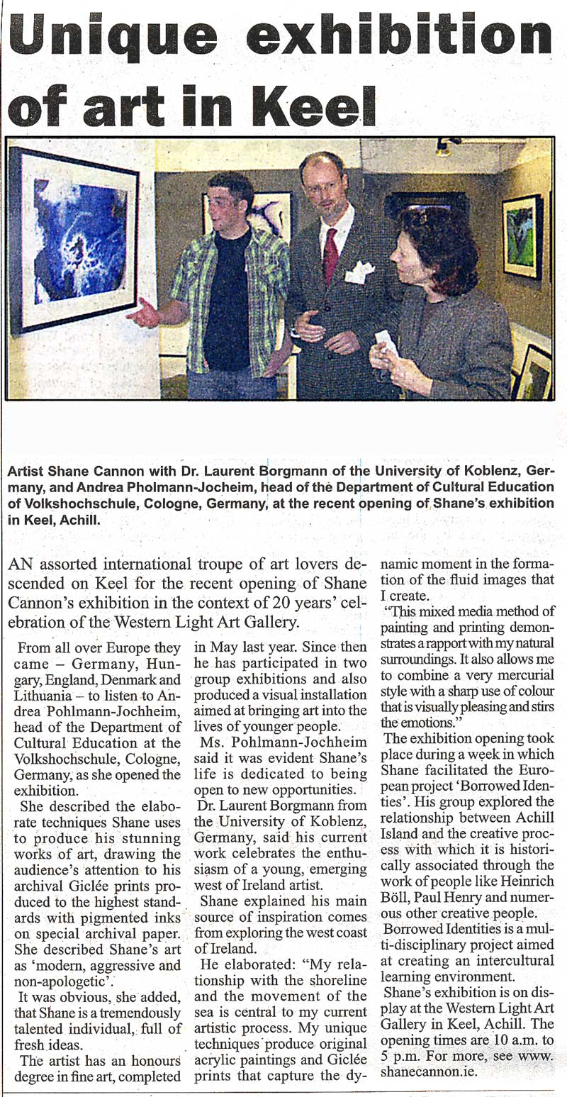 Newspaper report on Shane Cannon's exhibition opening at The Western Light Art Gallery on Achill Island.